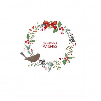Contemporary Wreath & Robin Christmas Cards - Pack of 10
