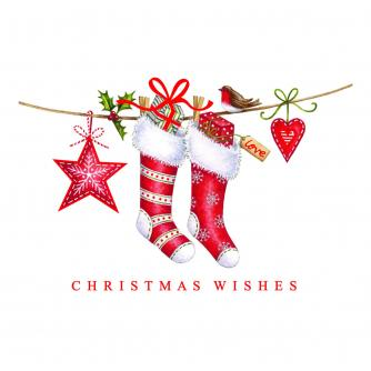 Stockings & Baubles Duo Christmas Cards - Pack of 16