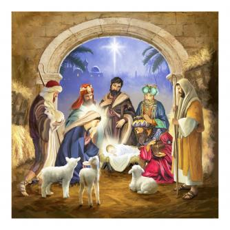 Traditional Nativity Scene Christmas Cards - Pack of 10