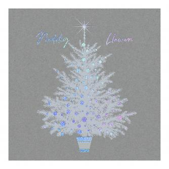 Solo Silver Holographic Tree Welsh Bilingual Christmas Cards - Pack of 10