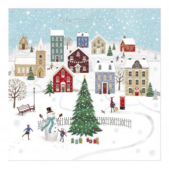 Village Snow Day Welsh Bilingual Christmas Cards - Pack of 10