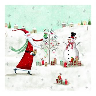 Father Christmas Winter Scene Christmas Cards - Pack of 20