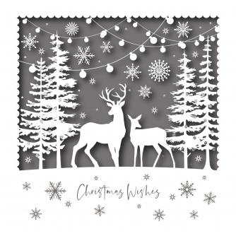 Silhouette Deer Christmas Cards - Pack of 20