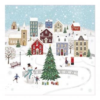 Village Snow Day Christmas Cards - Pack of 20