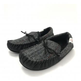 Totes Harris Tweed Moccasin Slippers Grey