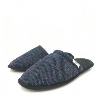 Totes Harris Tweet Mens Mule Slippers Navy