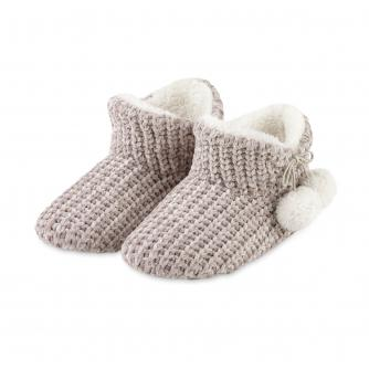 Totes Chenille Ladies Knitted Booties