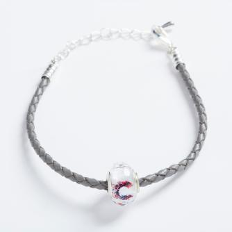Grey Leather Bracelet with Cancer Research UK Bead