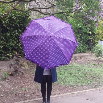 Purple Polka Dot Frill Walker Umbrella, Home & Accessories, Cancer Research UK