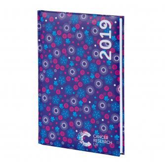 Dark Blue Floral Desk Diary