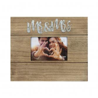 Mr & Mrs 6x4 Wood Finish Photo Frame