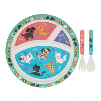Eco-Friendly Bamboo Dinner Set - Cat & Dog