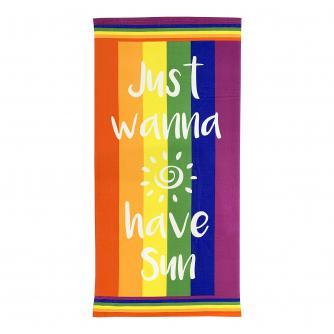 Rainbow Just Wanna Have Sun Beach Towel