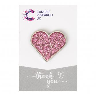Sparkly Pink Heart Pin Badge