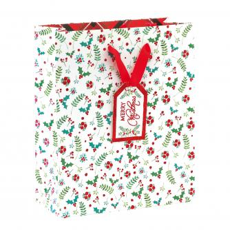 Festive Foliage Holly Medium Gift Bag