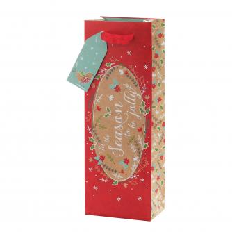 Festive Kraft Design Bottle Gift Bag