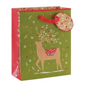 Festive Kraft Design Medium Gift Bag