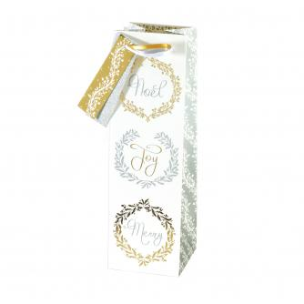 Gold & Silver Festive Bottle Gift Bag