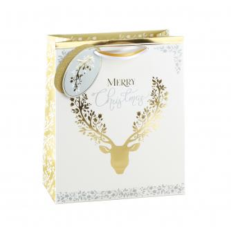 Gold & Silver Christmas Stag Gift Bag