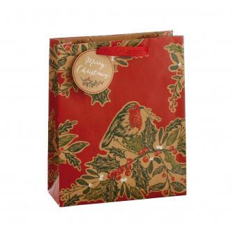 Festive Robin & Holly Gift Bag