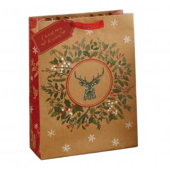Festive Reindeer & Snowflake Gift Bag