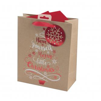 Have Yourself A Merry Little Christmas Kraft Paper Gift Bag - Medium
