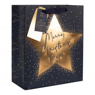 Merry Christmas Midnight Blue Gift Bag
