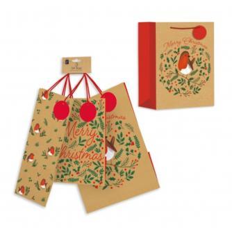 Kraft Gift Bags - Robin & Holly 3 Pack