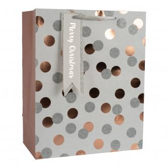 Silver and Rose Gold Spotty Gift Bag