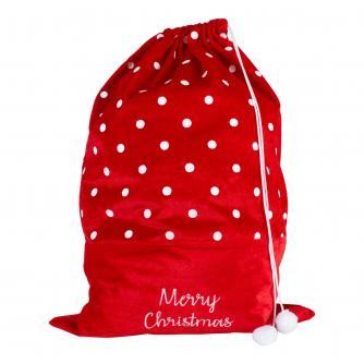 Spotty Velvet Gift Sack with Pom Poms
