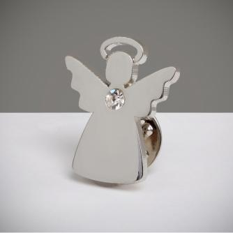 Angel with Clear Sparkle Pin Badge