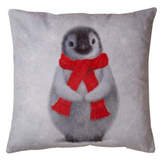 Large Winter Penguin Cushion
