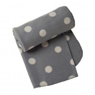 Grey Dotty Fleece Throw