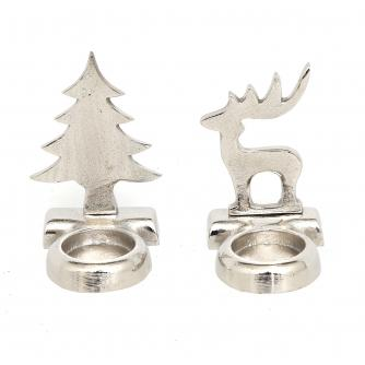 Christmas Tree & Reindeer Tea Light Holder Set