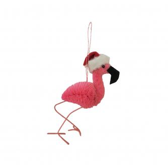 Festive Flamingo Christmas Tree Decoration