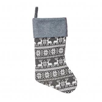 Knitted Grey Scandi Christmas Stocking