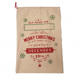 Customisable Hessian Elf Made Christmas Sack