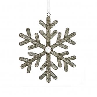 Silver Beaded Hanging Snowflake Decoration