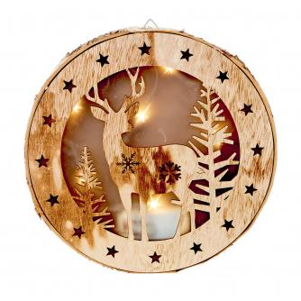 LED Wooden Winter Forest Reindeer Scene Light