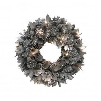 LED Festive Silver Christmas Wreath