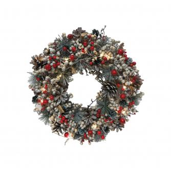LED Red & White Berry Festive Wreath