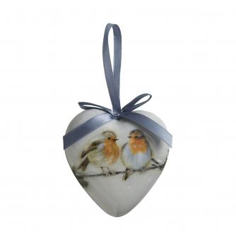 Winter Woodland Robin Heart Bauble