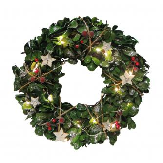LED Lit Eucalyptus Christmas Wreath