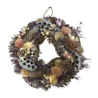 LED Lit Lilac Christmas Wreath