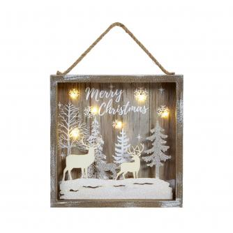 Lit Reindeer Forest Scene Hanging Decoration