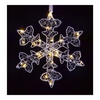 Silver LED Lit Snowflake Light Decoration