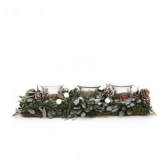 Mistletoe Log Tealight Candle Holder