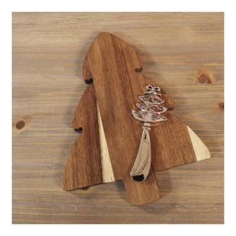 Wooden Christmas Tree Cheeseboard & Knife Set
