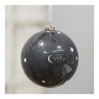 Black & White Moon & Stars Bauble - 10cm