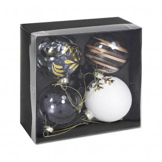 White & Gold Glass Baubles - Set of 4